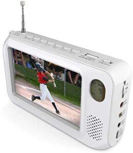 【2021アップグレード 】TLAXCAワンセグテレビ ポータブルテレビ4.3インチ FM:AMラジオ機能搭載 防災テレビ 手回し充電 USB充電 電池式 SOS LEDライト 防災グッズ