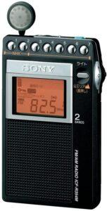 ソニー PLLシンセサイザーラジオ FM:AM:ワイドFM対応 片耳巻取り 名刺サイズ ICF-R354M