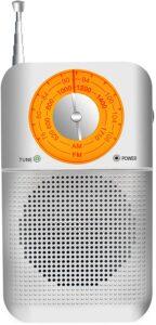 ポータブルラジオ FM:AM対応 小型 モノラル 簡単な使用 携帯ラジオ 高感度ラジオ 木目調 保証付き (R-916銀)