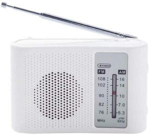 ワイドFM&AM 電池式 スピーカー付 ポータブル ラジオ