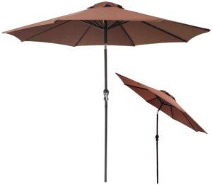 WEIMALL ガーデンパラソル 270cm 角度調整可能 撥水加工 UVカット 折りたたみ 軽量 パラソル 日よけ 日傘 (ブラウン)