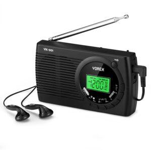 YOREK AM:FM:SW ワイドFM対応ポータブルラジオ クロックラジオ 電池式ラジオ スリープ機能付き ステレオイヤホン付属する(YK-901、 日本語取説付き,1年間保証付き)